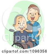 Male Geriatric Nurse Tending To A Senior Man