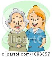 Clipart Happy Geriatric Nurse Laughing With A Senior Woman Royalty Free Vector Illustration