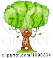 Clipart Tree Foliage And Trunk Spelling Arbor Day Royalty Free Vector Illustration