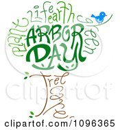 Clipart Bird And Arbor Day Text Forming A Tree Royalty Free Vector Illustration