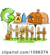 Clipart Garden Month Spelled Out With A Fence And Tools Royalty Free Vector Illustration
