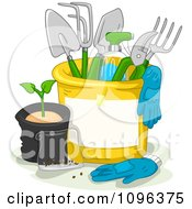 Bucket With Gloves And Gardening Tools