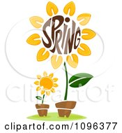 Clipart The Word Spring In A Sunflower Center Royalty Free Vector Illustration