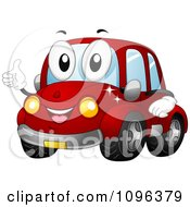 Clipart Happy Red Car Holding A Thumb Up And Smiling Royalty Free Vector Illustration by BNP Design Studio #COLLC1096379-0148