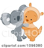 Clipart Cute Koala And Kangaroo Hugging Royalty Free Vector Illustration
