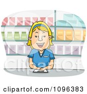 Happy Female Pharmacist Smiling And Standing At A Counter