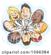 Clipart Happy Team Of Doctors Stacking Hands And Looking Up Royalty Free Vector Illustration
