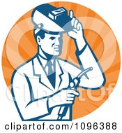 Clipart Retro Male Scientist Welding In A Laboratory Over Orange Rays Royalty Free Vector Illustration