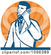 Clipart Retro Male Scientist Talking On A Telephone Over Orange Rays Royalty Free Vector Illustration