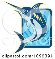 Clipart Retro Blue Marlin Leaping Over A Rectangle Of Blue Rays Royalty Free Vector Illustration by patrimonio