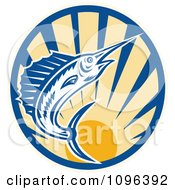 Clipart Retro Blue Marlin Leaping Over A Circle Of Rays Royalty Free Vector Illustration