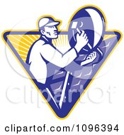 Clipart Retro Satellite Dish Installer Or Repair Man Over A Triangle With Rays Royalty Free Vector Illustration by patrimonio