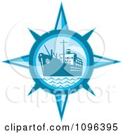 Clipart Retro Blue Cargo Ship Or Ocean Liner Inside A Compass Royalty Free Vector Illustration