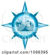 Retro Blue Cargo Ship Or Ocean Liner Inside A Compass