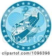 Clipart Retro Blue Cargo Ship Or Ocean Liner With An Anchor And Stars Royalty Free Vector Illustration
