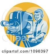 Clipart Happy Retro Film Crew Cameraman Adjusting His Equipment Over A Yellow Circle Royalty Free Vector Illustration