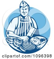 Clipart Retro Woodcut Blue Butcher Holding A Cleaver Knife Over Meats Royalty Free Vector Illustration