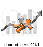 Orange Business Owner Man Relaxing On An Increaswe Bar And Drinking Finally Taking A Break Clipart Illustration