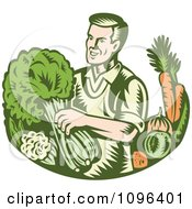 Clipart Retro Woodcut Organic Farmer With With Leafy Green And Root Vegetables Royalty Free Vector Illustration by patrimonio