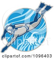 Clipart Retro Scuba Diver Swimming With An Angel Fish Royalty Free Vector Illustration