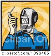 Clipart Retro Welder Holding A Welding Torch Over Rays Royalty Free Vector Illustration by patrimonio