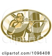 Clipart Retro Hunter Aiming A Telescope Rifle By A Tree Royalty Free Vector Illustration