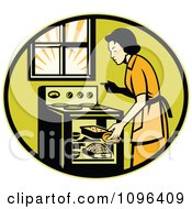 Retro Housewife Cooking Fresh Bread In An Oven