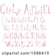 Clipart Pink Girly Lowercase And Capital Letters Royalty Free Vector Illustration