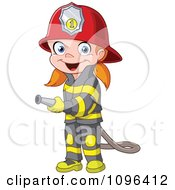 Clipart Happy Girl Fire Fighter Using A Hose Royalty Free Vector Illustration