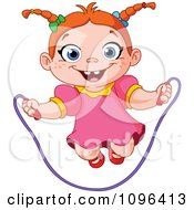 Clipart Happy Girl Playing With A Jump Rope Royalty Free Vector Illustration