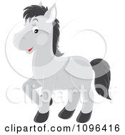 Clipart Cute Happy Gray Horse With Black Hair Royalty Free Vector Illustration