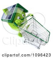 Clipart 3d Solar Green Clay Home Pushing A Shopping Cart 2 Royalty Free CGI Illustration