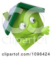 Clipart 3d Green Clay Solar Home With A Sign 3 Royalty Free CGI Illustration