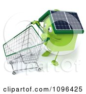 Clipart 3d Solar Green Clay Home Pushing A Shopping Cart 1 Royalty Free CGI Illustration