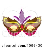 Clipart Brown Pink And Yellow Mardi Gras Face Mask With Purple Feathers Royalty Free Vector Illustration by Cherie Reve