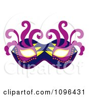 Clipart Blue Purple And Yellow Mardi Gras Face Mask With Swirls Royalty Free Vector Illustration by Cherie Reve