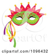 Clipart Green Mardi Gras Face Mask With A Crown And Streamers Royalty Free Vector Illustration by Cherie Reve