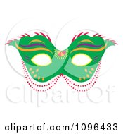 Clipart Green Mardi Gras Face Mask With Beads Royalty Free Vector Illustration by Cherie Reve