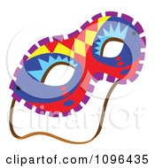 Clipart Colorful Mardi Gras Face Mask With A Strap Royalty Free Vector Illustration by Cherie Reve