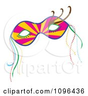 Clipart Ray Mardi Gras Face Mask With Beads Royalty Free Vector Illustration by Cherie Reve