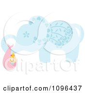 Clipart Blue Floral Elephant Carrying A Baby In A Bundle Royalty Free Vector Illustration