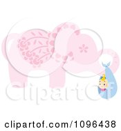 Clipart Pink Floral Elephant Carrying A Baby In A Bundle Royalty Free Vector Illustration
