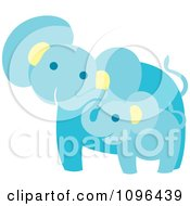 Clipart Happy Blue Elephant Mother And Baby Royalty Free Vector Illustration