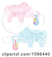 Clipart Blue And Pink Floral Elephants Carrying Babies In Bundles Royalty Free Vector Illustration