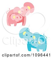 Clipart Happy Pink And Blue Elephant Mothers And Babies Royalty Free Vector Illustration by Cherie Reve