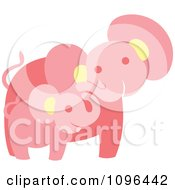 Clipart Happy Pink Elephant Mother And Baby Royalty Free Vector Illustration