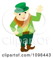 Clipart Happy St Patricks Day Leprechaun Waving Royalty Free Vector Illustration by Cherie Reve