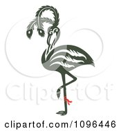 Ornate Flamingo Balanced On One Leg