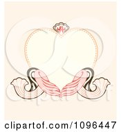 Heart Frame With Ornate Swirls On Pastel Pink