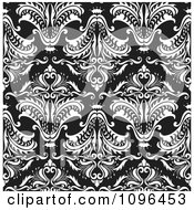 Seamless Black And White Floral Background Pattern